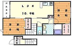 ヒナタイースト[2階]の間取り