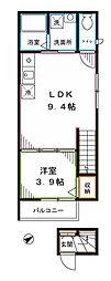 JR中央本線 中野駅 徒歩6分の賃貸アパート 2階1LDKの間取り