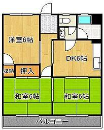 塚本コーポ 3階3DKの間取り