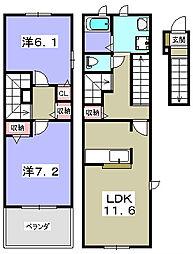 大阪府枚方市長尾元町7丁目の賃貸アパートの間取り