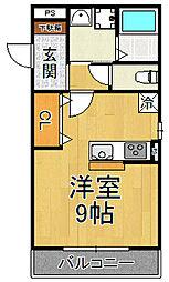 阪神本線 尼崎センタープール前駅 徒歩6分の賃貸アパート 2階1Kの間取り