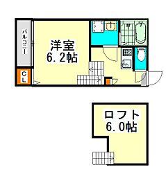 名古屋市営東山線 高畑駅 徒歩7分の賃貸アパート 2階1SKの間取り