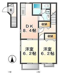 愛知県あま市中萱津の賃貸アパートの間取り