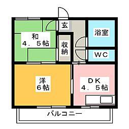 ツガネマンション[4階]の間取り