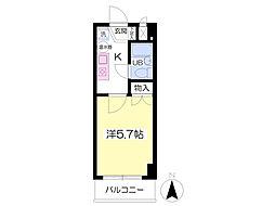 JR東北本線 福島駅 徒歩5分の賃貸マンション 4階1Kの間取り