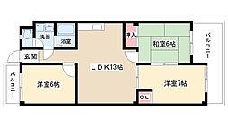 愛知県名古屋市名東区社が丘2丁目の賃貸マンションの間取り
