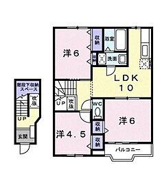 神奈川県藤沢市遠藤の賃貸アパートの間取り