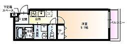 フジパレス太子橋III番館 3階1Kの間取り