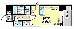 JR東海道本線 尾頭橋駅 徒歩8分の賃貸マンション 6階ワンルームの間取り