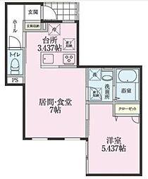 神奈川県川崎市幸区小向西町2丁目の賃貸アパートの間取り