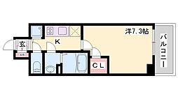 エスリード神戸ハーバーテラス 5階1Kの間取り