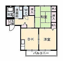 広島県福山市坪生町5丁目の賃貸アパートの間取り