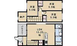 カサベルデ北花田 1階3LDKの間取り
