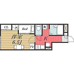 千葉県成田市三里塚の賃貸アパートの間取り