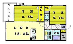 プレステージ福津B[4階]の間取り