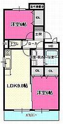 愛知県清須市阿原八幡の賃貸マンションの間取り