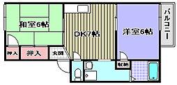 南海高野線 萩原天神駅 徒歩3分の賃貸アパート 2階2DKの間取り