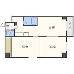 札幌市電2系統 西4丁目駅 徒歩7分の賃貸マンション 6階2DKの間取り