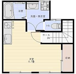 エスポアール富岡 1階ワンルームの間取り