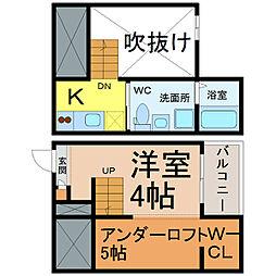 愛知県名古屋市南区氷室町の賃貸アパートの間取り