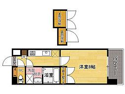 西鉄貝塚線 香椎宮前駅 徒歩1分の賃貸マンション 12階1Kの間取り