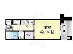フォレステージュ江坂公園 8階1Kの間取り