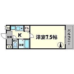 リヴァーシャロウ西三荘[6階]の間取り