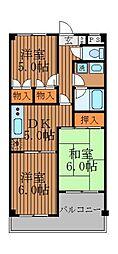 エステート柿の木[4階]の間取り