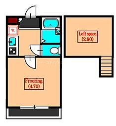 JR中央本線 国分寺駅 徒歩8分の賃貸アパート 2階1Kの間取り