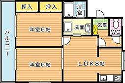 レイズ友田 B棟[3階]の間取り