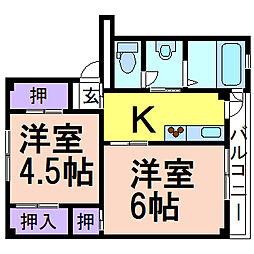 ビレッジハウス奈良部2号棟 2階2Kの間取り