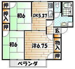 ロイヤルシェルC棟[2階]の間取り