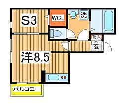 ラ・ルーナ 1階ワンルームの間取り