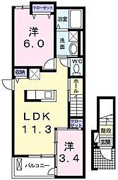 JR八高線 箱根ヶ崎駅 徒歩19分の賃貸アパート 2階2LDKの間取り