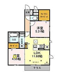 (仮)サンアネックスふじみ野II 1階2LDKの間取り