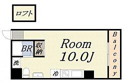 W motomachi 5階ワンルームの間取り
