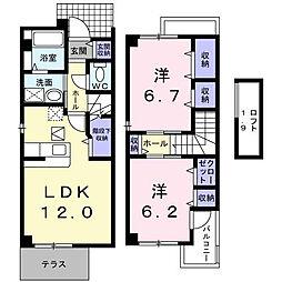 プリムヴェールA[2階]の間取り