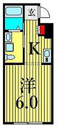 JR山手線 鶯谷駅 徒歩6分の賃貸マンション 2階1Kの間取り