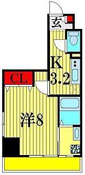 (仮)越谷プロジェクト 8階1Kの間取り