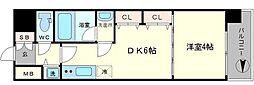 S-RESIDENCE淀屋橋 13階1DKの間取り