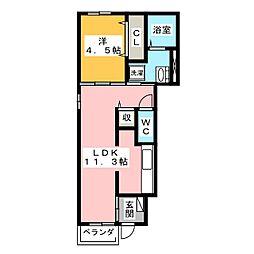 グレージュ[1階]の間取り