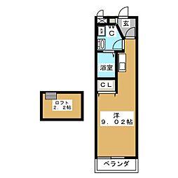 ユメックス−10 2階ワンルームの間取り
