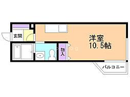 Maison花 〜メゾンハナ〜 3階1Kの間取り