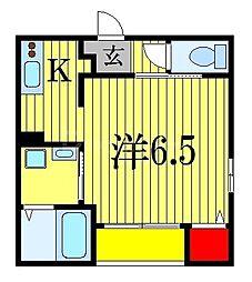 JR総武線 下総中山駅 徒歩3分の賃貸アパート 3階1Kの間取り