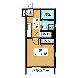 パラドール西蒲田 3階1Kの間取り