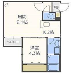 北海道札幌市東区北十六条東16の賃貸マンションの間取り