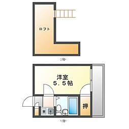 愛知県名古屋市中村区靖国町1の賃貸アパートの間取り