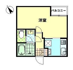 東武東上線 下赤塚駅 徒歩7分の賃貸アパート 3階1Kの間取り