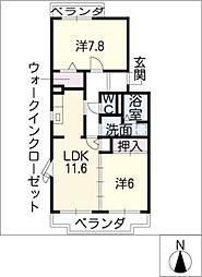 エスポワール清風弐番館[1階]の間取り