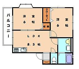 コ−ポ誠B棟[2階]の間取り